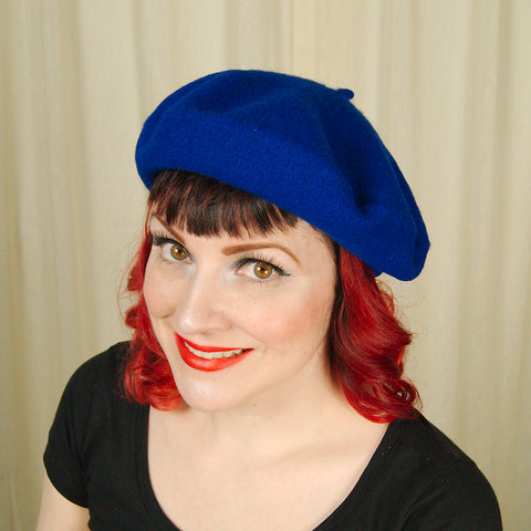 Royal Blue Wool Beret Hat - Cats Like Us