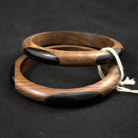 Set of Two Oval Dot Wood Bangle Vintage Bracelets