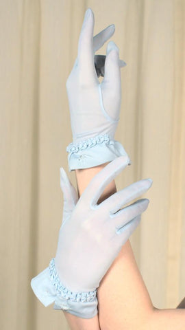 Sheer Baby Blue Beaded Gloves - Cats Like Us