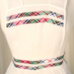 Sheer Full Plaid Trim Apron - Cats Like Us