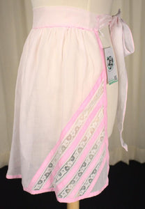 Sheer Pink Ribbon & Lace Apron - Cats Like Us