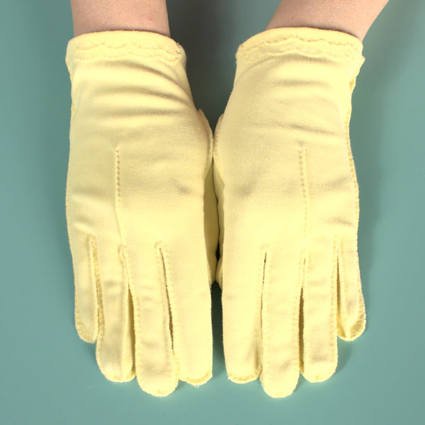 Short Embroidered Yellow Gloves