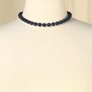 Short Navy Bead Necklace - Cats Like Us