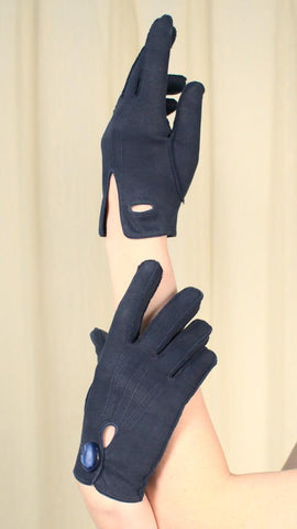 Short Navy Button Gloves - Cats Like Us