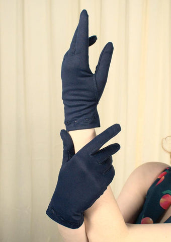 Short Navy Embroidered Gloves - Cats Like Us