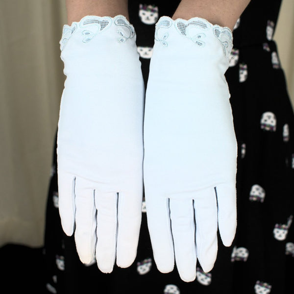 Short Powder Blue Eyelet Gloves - Cats Like Us
