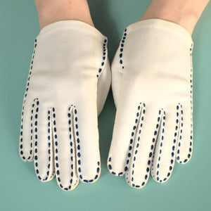Short White & Navy Gloves - Cats Like Us
