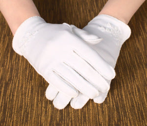 Short White Beaded & Emb Gloves