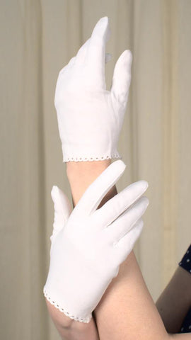 Short White Eyelet Wrist Gloves - Cats Like Us