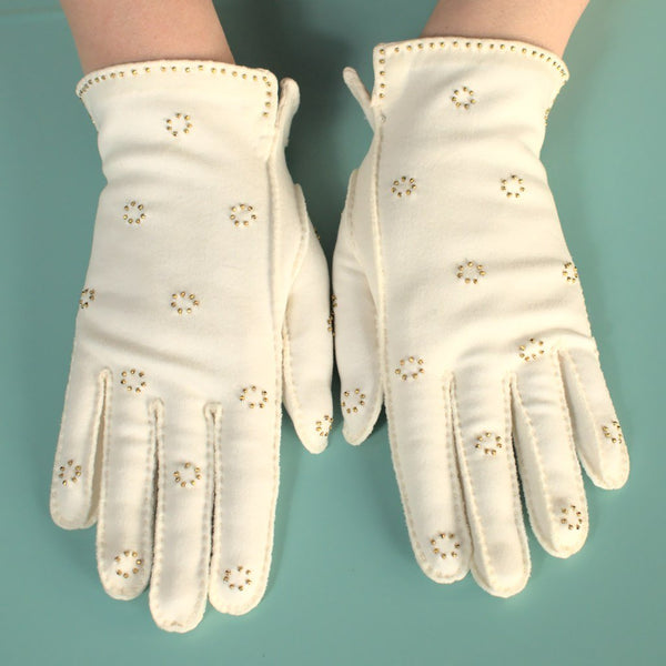 Short White Gold Bead Gloves - Cats Like Us