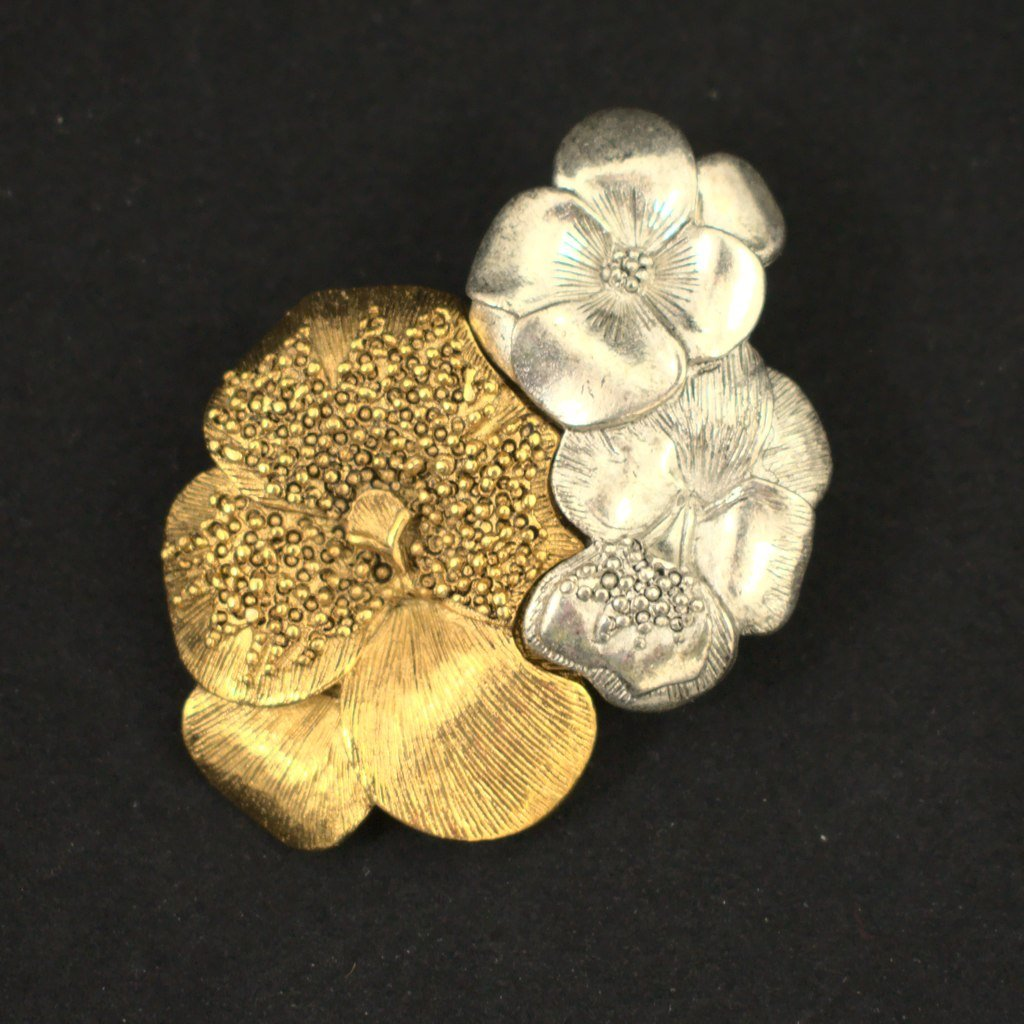 Silver & Gold Pansy Brooch - Cats Like Us