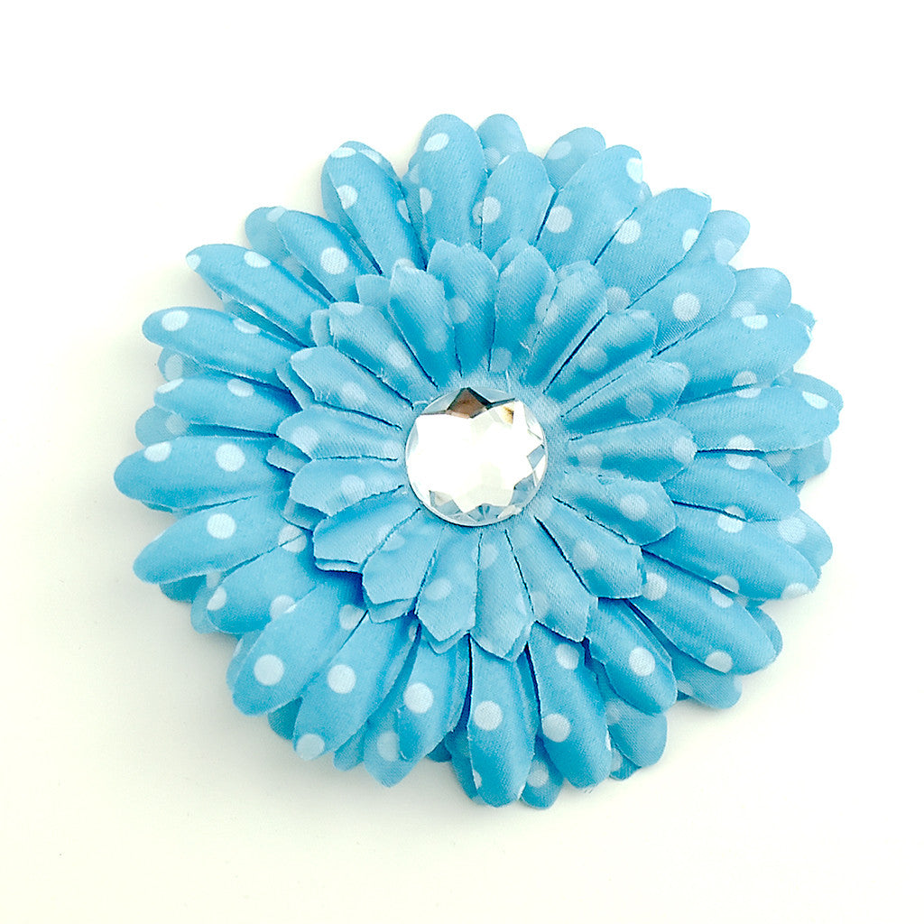 Sky Blue Dot Daisy Hair Flower by Cats Like Us