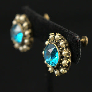 Sky Blue Rhinestone Vintage Earrings