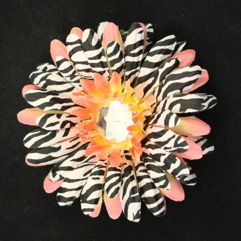 Small Peach Zebra Hair Flower - Cats Like Us