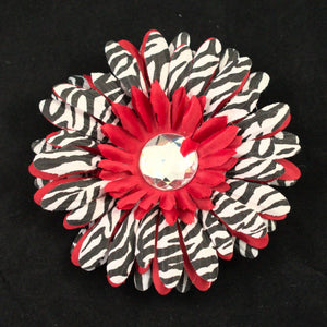 Small Red Zebra Hair Flower - Cats Like Us