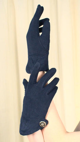 Soft Short Navy Button Gloves - Cats Like Us
