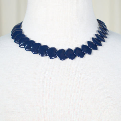 Square Blue Bead Necklace
