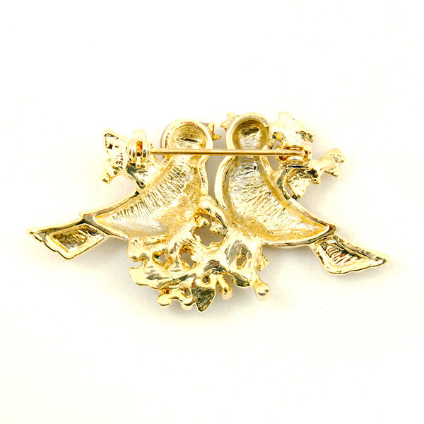 Cats Like Us Tan Love Birds Pin Brooch for sale at Cats Like Us - 2