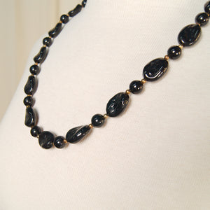 Textured Black Bead Necklace