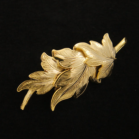 Three Gold Leaves Brooch
