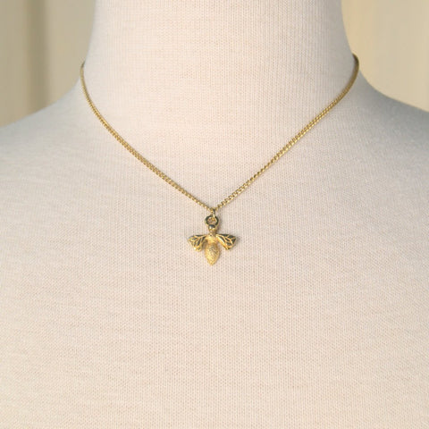Tiny Bee Pendant Necklace