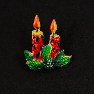 Tiny Christmas Candle Brooch - Cats Like Us