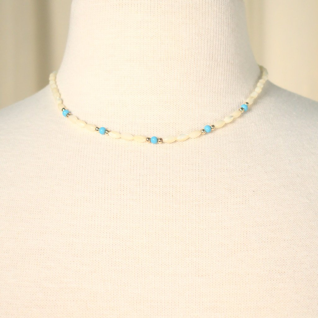 Tiny Pearl & Blue Bead Necklace - Cats Like Us