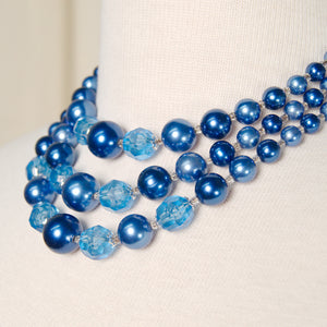 Tri Strand Blue Pearl Necklace