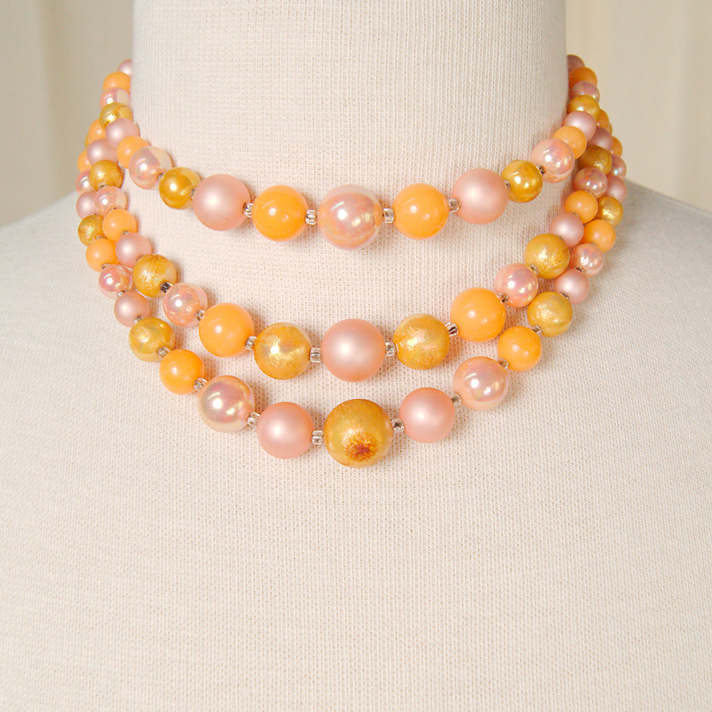 Tri Strand Peach Necklace