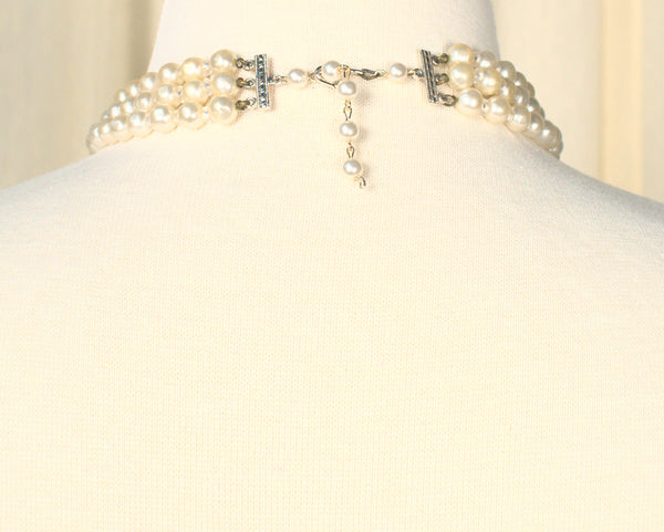 Triple Aurora & Pearl Vintage Necklace