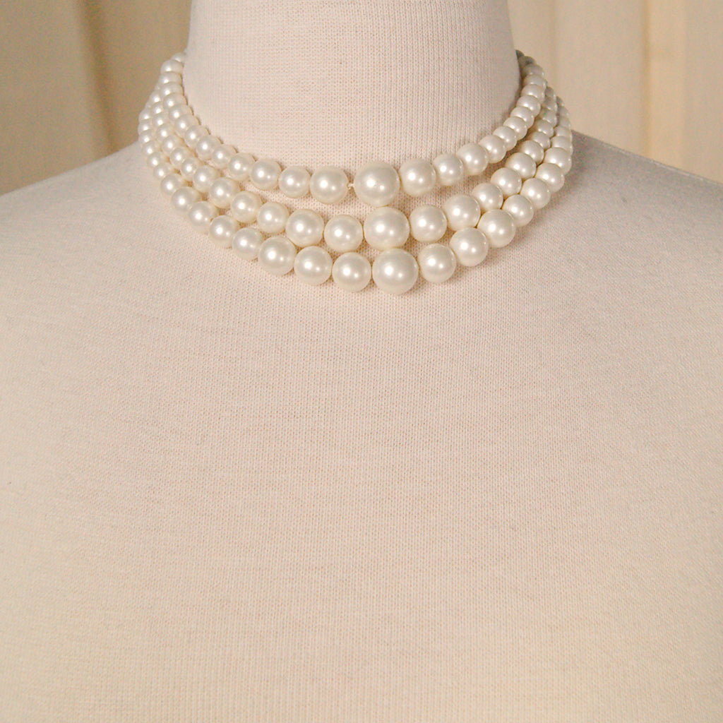 Triple Faux Pearl Necklace