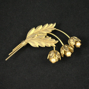 Triple Flower Pearl Vintage Brooch