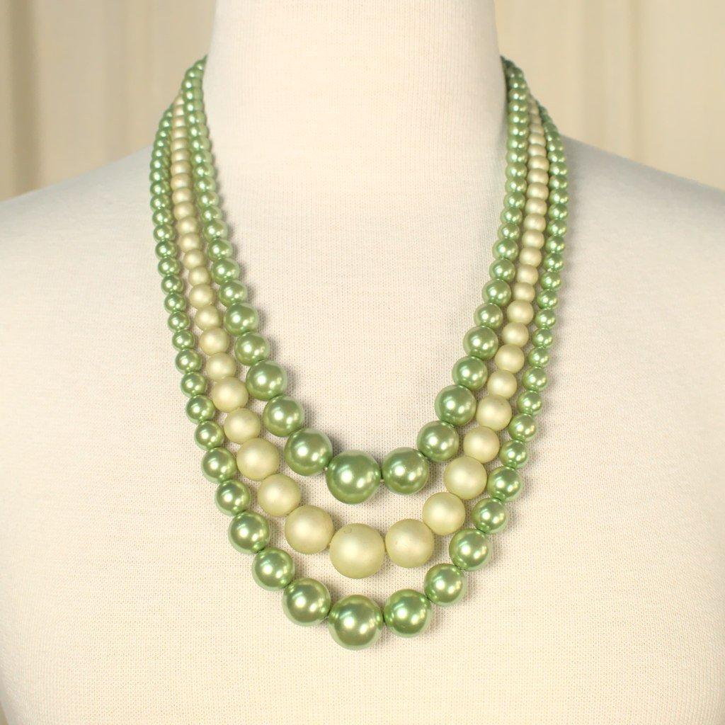 Triple Lime Pearl Necklace - Cats Like Us