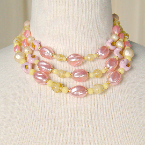 Triple Pink & Yellow Necklace
