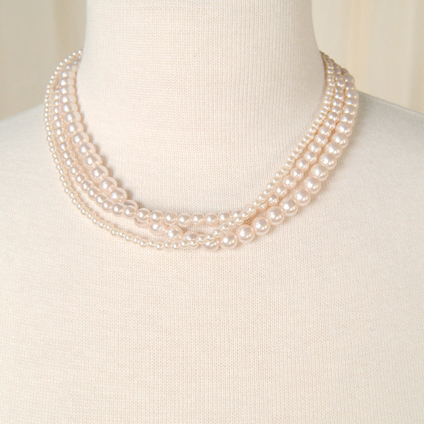 Triple Pink Pearl Necklace