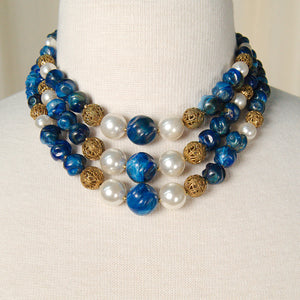 Triple Strand Blue Necklace