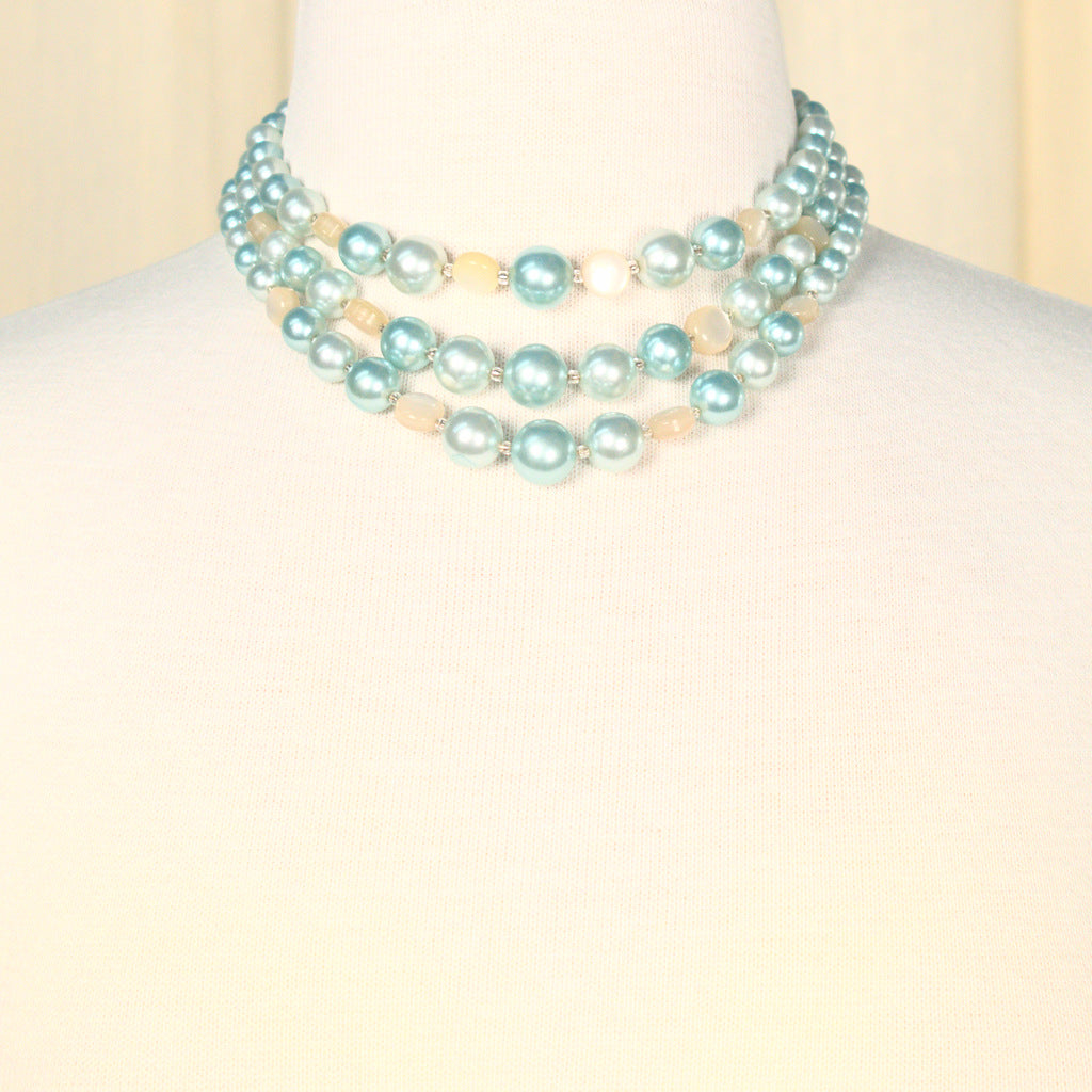 Triple Strand Ice Blue Vintage Necklace