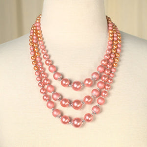 Triple Strand Peach Necklace - Cats Like Us
