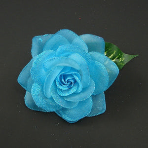 Turq Glitter Rose Hair Flower by Cats Like Us