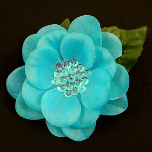 Turquoise Sequin Hair Flower - Cats Like Us