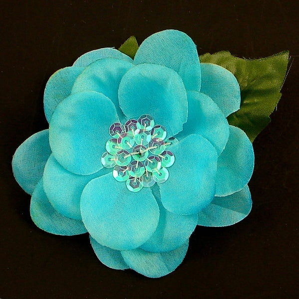 Turquoise Sequin Hair Flower