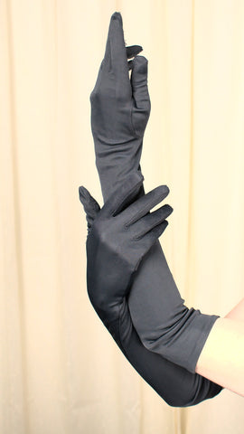 Very Long Vintage Black Gloves