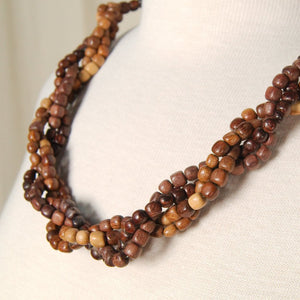 Weaved Wood Bead Necklace