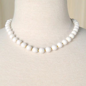 White & Gold Bead Necklace