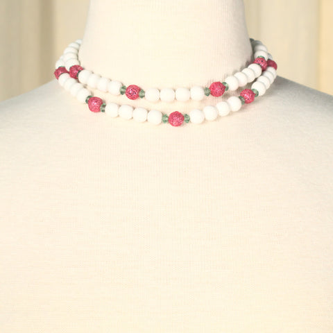 Vintage White & Pink Necklace