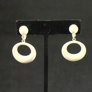 White Enamel Oval Hoop Earrings