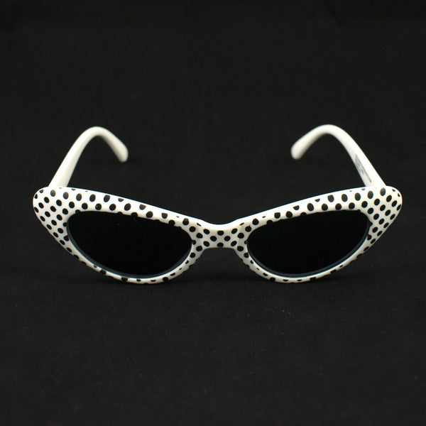 White Meow Polka Dot Sunglasses - Cats Like Us