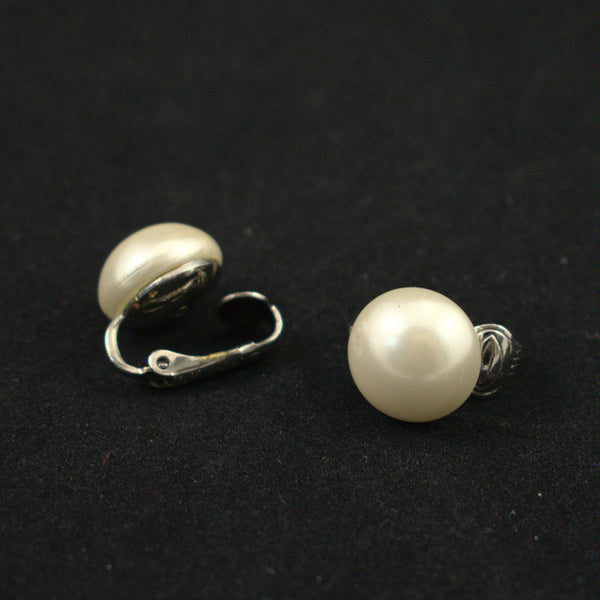 White Pearl Button Vintage Earrings