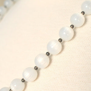 White Pearlized & Gray Necklace - Cats Like Us