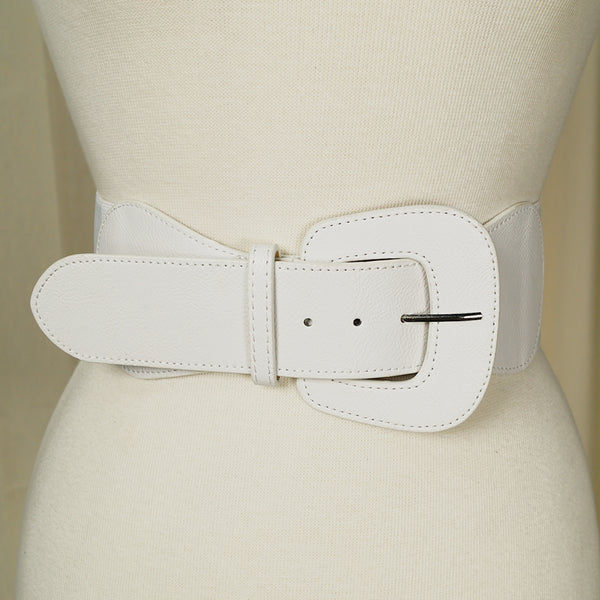 White Pinup Cinch Belt